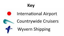 Key for Airports and Canal Boat Bases map