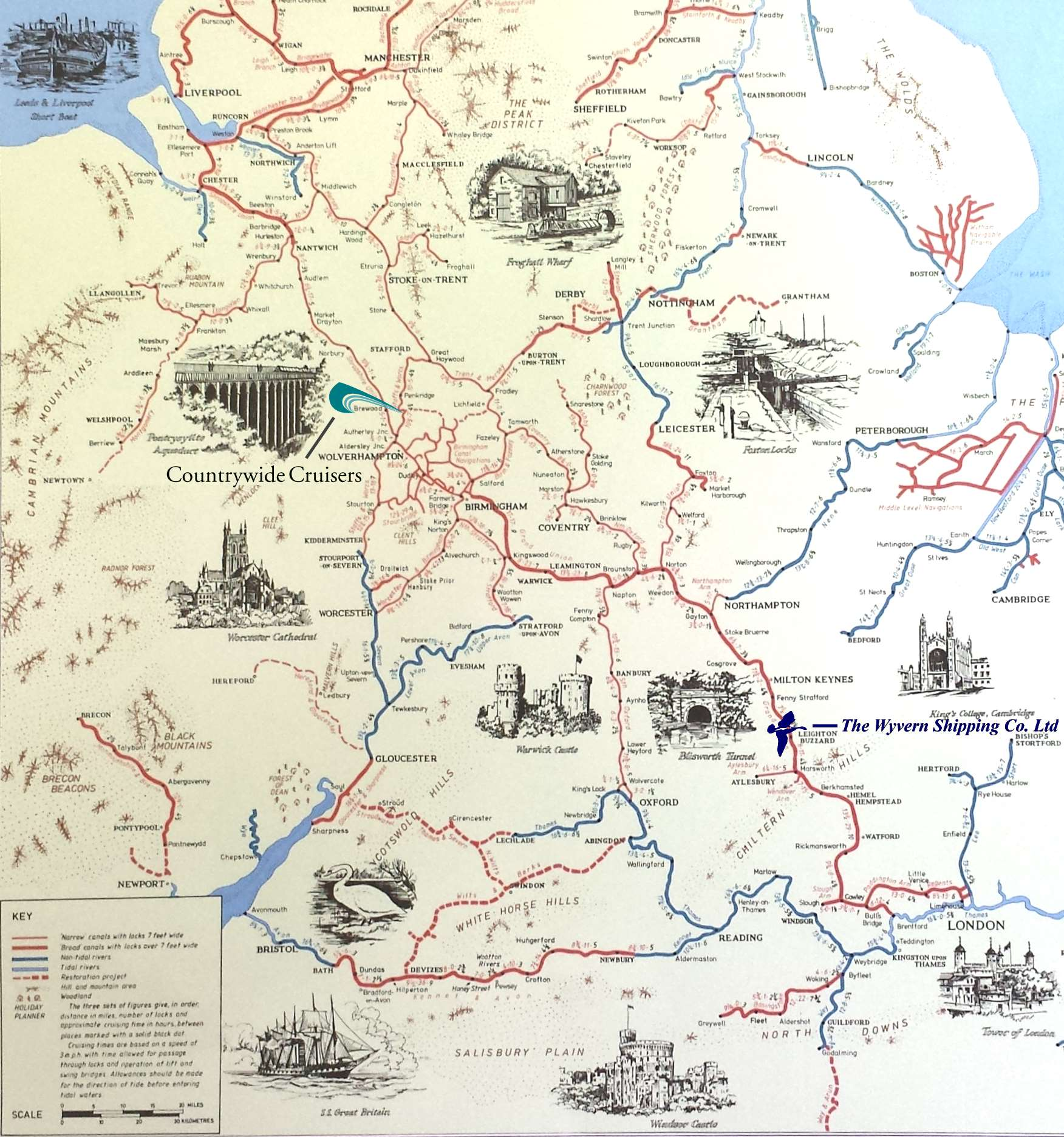 Large South & Midlands of England and Wales Canal and River Map