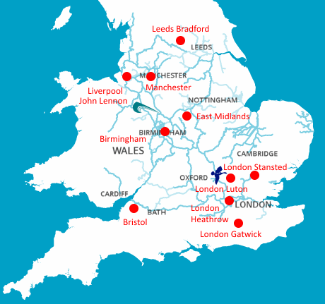 Major Airports around the Canals and Rivers of England and Wales