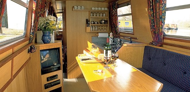 Narrowboat Interior Lounge and Galley